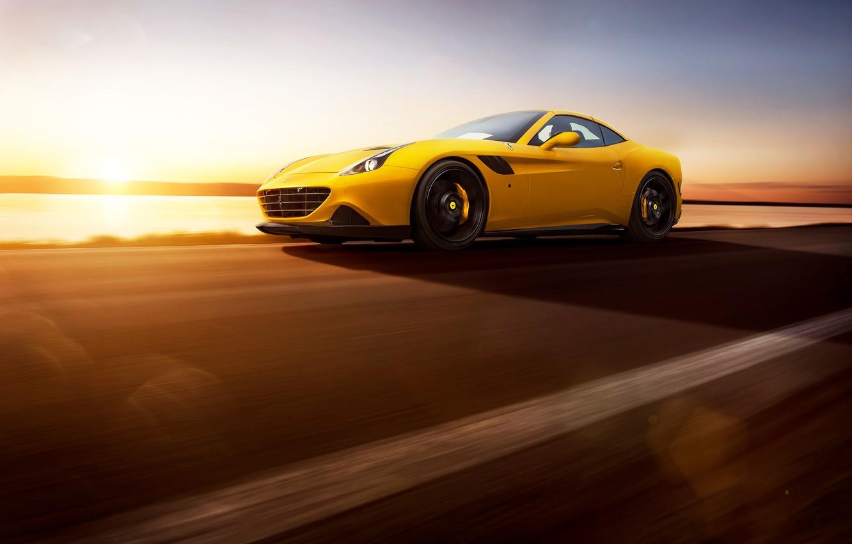 Photo wallpaper Ferrari, Speed, Front, Sun, Yellow, Supercar, Rosso, Novitec, 2015, California T