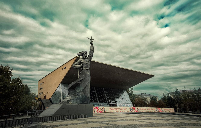 Photo wallpaper monument, Aurora, cinema, Krasnodar