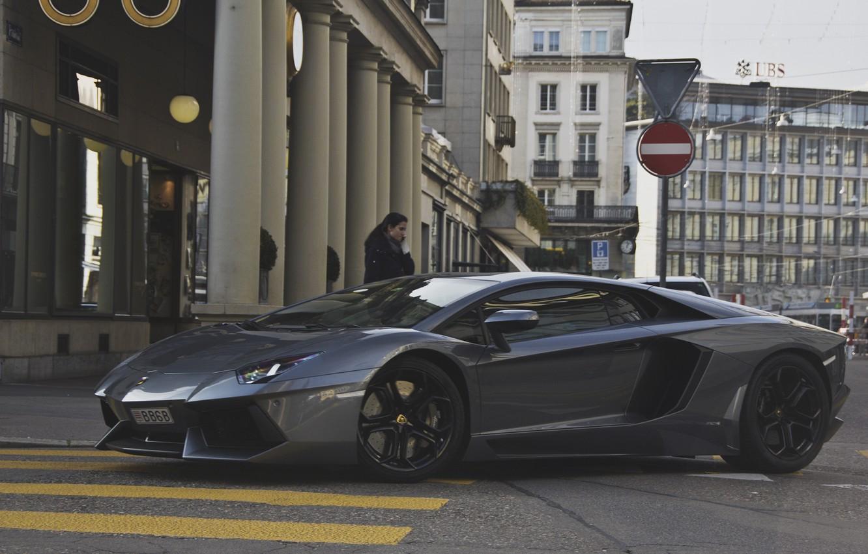 Photo wallpaper girl, grey, street, Lamborghini, supercar, girl, supercar, street, aventador, lp700-4, Lamborghini, aventador, gray