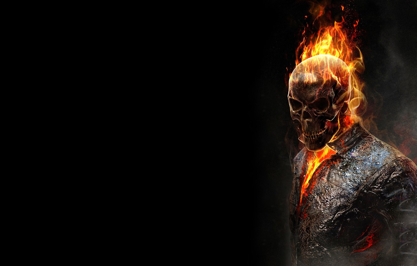 Photo wallpaper the dark background, fire, flame, skull, skeleton, Ghost rider, ghost rider