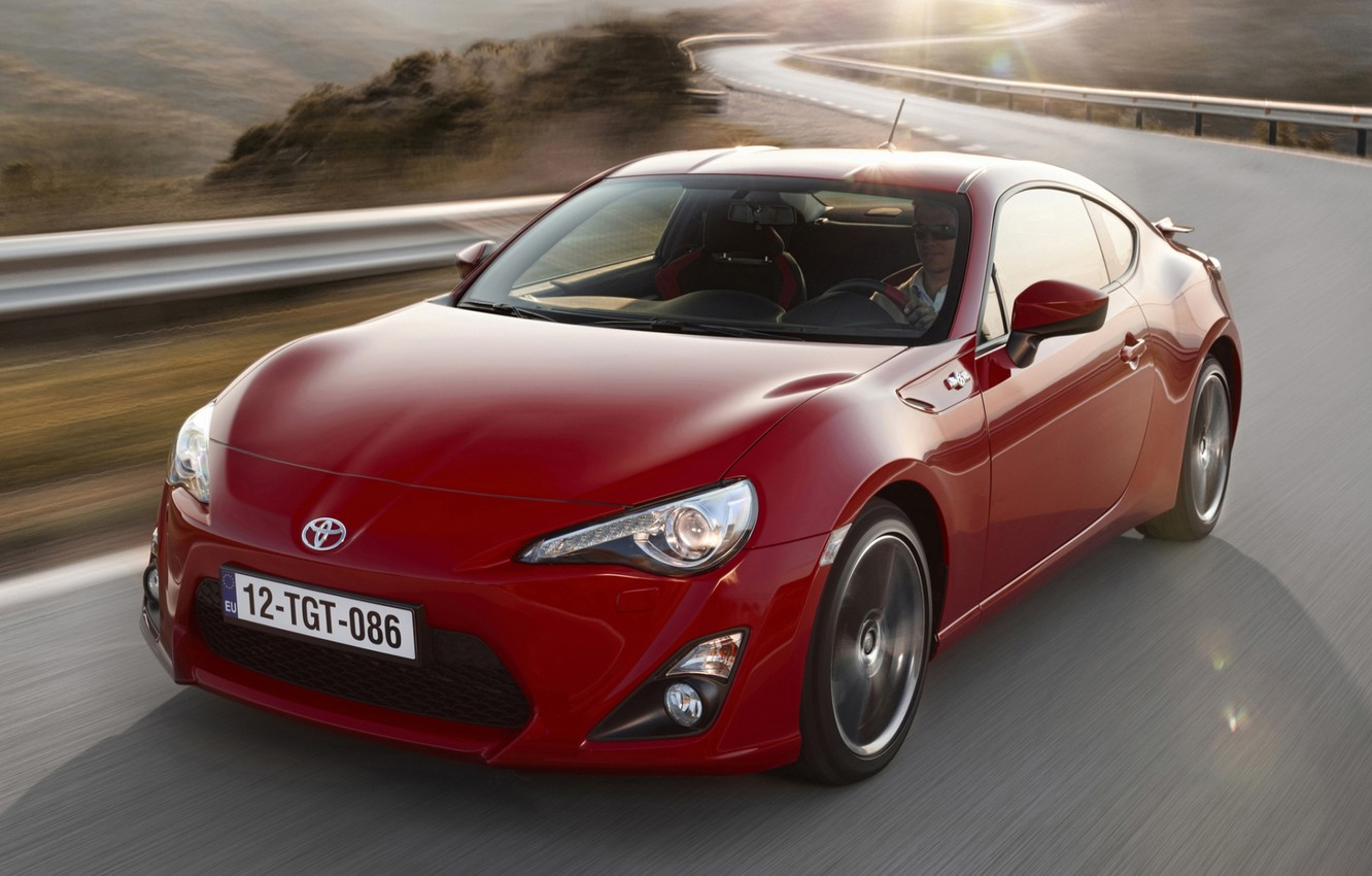 Photo wallpaper road, red, sports car, Toyota, the front, Toyota, ГТ86, GT86