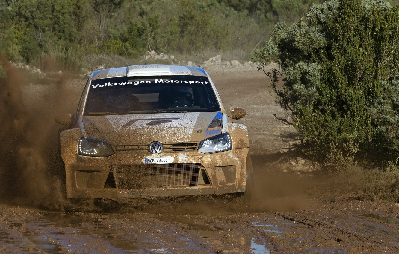 Photo wallpaper Volkswagen, Machine, puddle, Logo, The hood, Dirt, WRC, Rally, The front, Polo, Motosport
