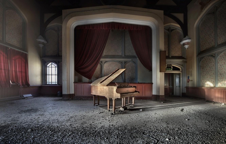 Photo wallpaper music, hall, piano