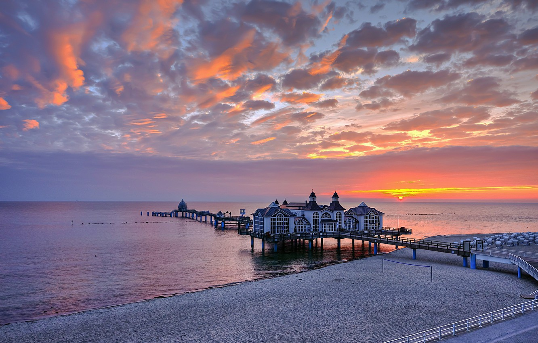 Photo wallpaper sunset, Germany, pierce, restaurant, Germany, Sellin, Sellin Pier, The Baltic sea
