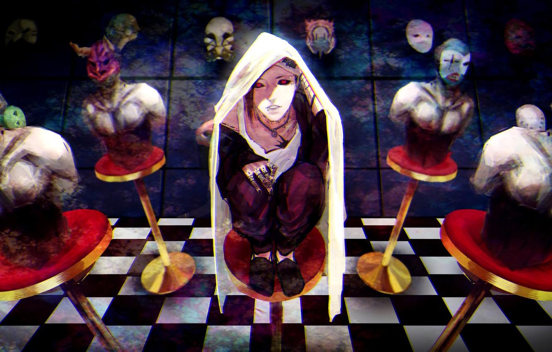 Photo wallpaper anime, art, guy, mask, mannequins, uta, Tokyo ghoul, Tokyo Ghoul, sai ichirou
