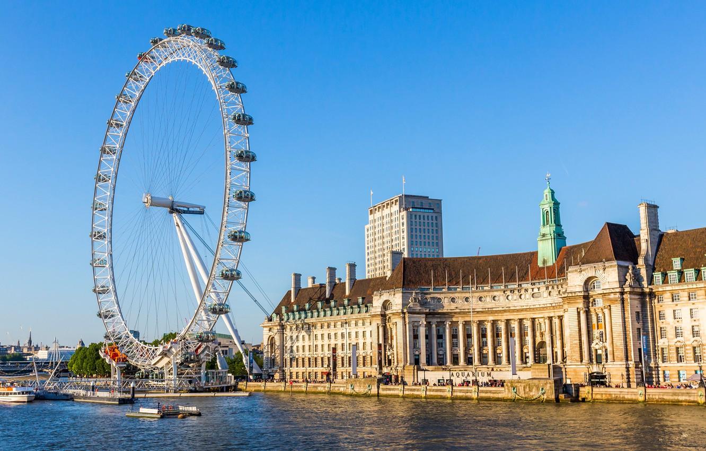 Photo wallpaper the sky, river, England, London, home, wheel