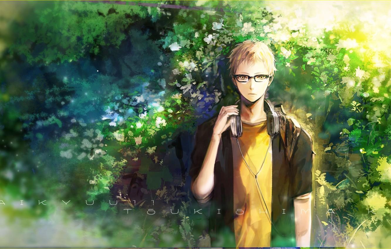 Photo wallpaper anime, headphones, art, glasses, guy, haikyuu!!, tsukishima kei, orka