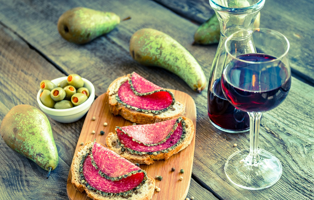Photo wallpaper wine, bread, pear, olives, sausage, wine, spices, bread, sandwiches, pear, olives, sausage