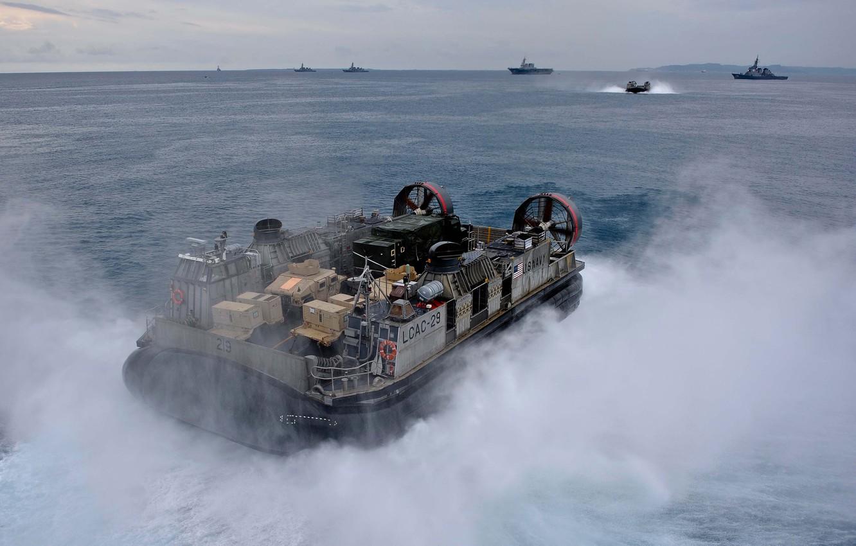 Photo wallpaper squirt, ship, Navy, sea., pillow, air, hovercraft, landing