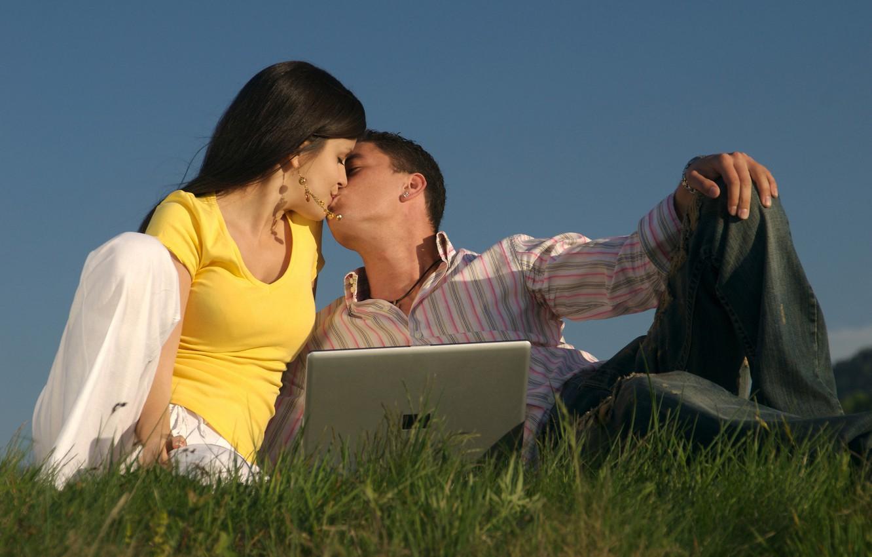 Photo wallpaper grass, girl, love, people, girls, mood, people, kiss, friendship, guy, guys, relationship, kisses