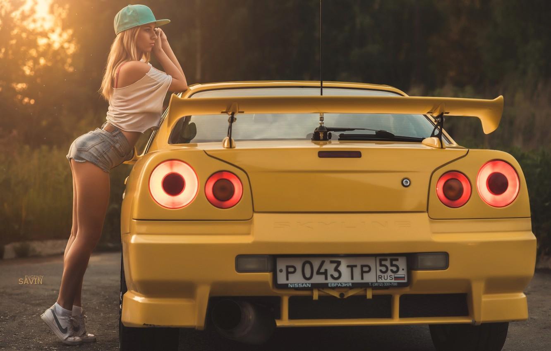 Photo wallpaper girl, yellow, cap, nike, Evgeniy Savin