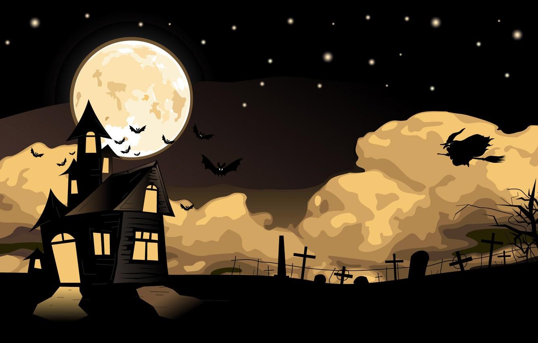 Photo wallpaper night, vector, mystic, art, Halloween, Halloween, Holiday, picture