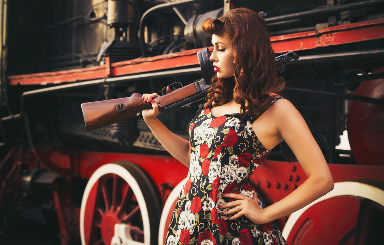 Photo wallpaper look, girl, style, retro, weapons, background, the engine, modern, goal, girl, beautiful, pin-up, military, style, …