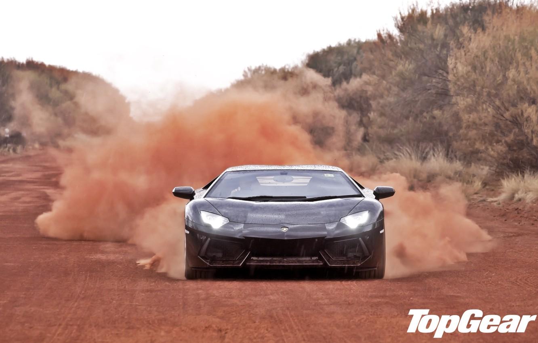 Photo wallpaper road, trees, black, dust, Lamborghini, supercar, top gear, the front, LP700-4, Aventador, Lamborghini, top gear, …