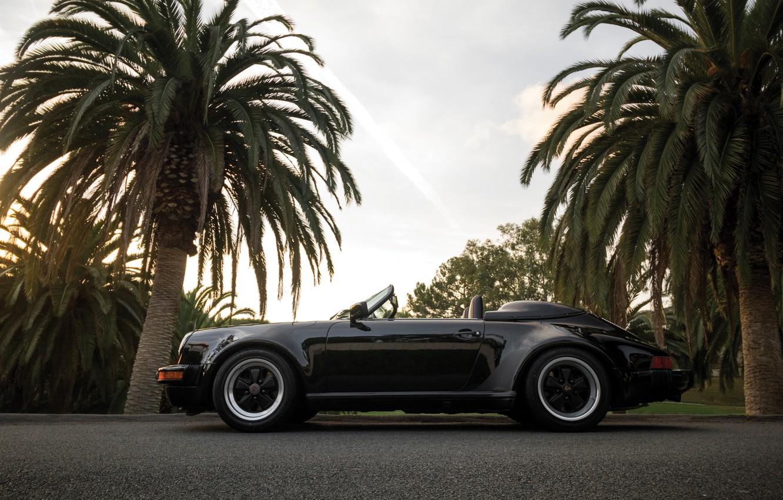 Photo wallpaper car, Porsche, supercar, sportcar, black, nature, classic, usa, palms, carrera, speedster