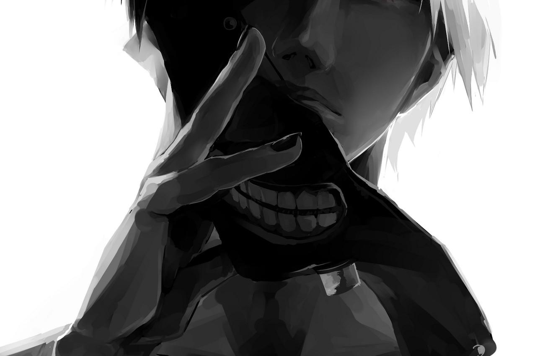 Photo wallpaper anime, mask, art, guy, monochrome, Tokyo ghoul, tokyo ghoul, Ken kanek, g.g.lemon
