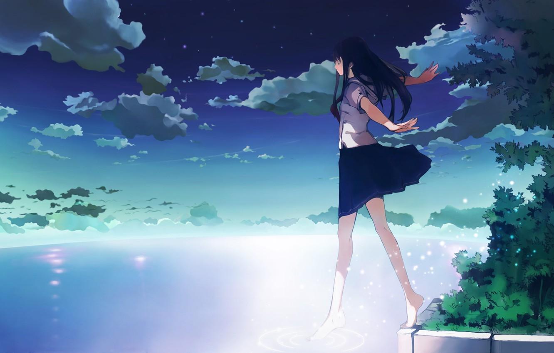 Photo wallpaper the sky, water, clouds, Girl, school uniform, step