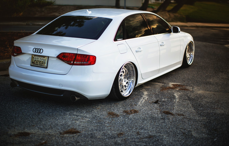 Photo wallpaper Audi, Audi, white, white, stance
