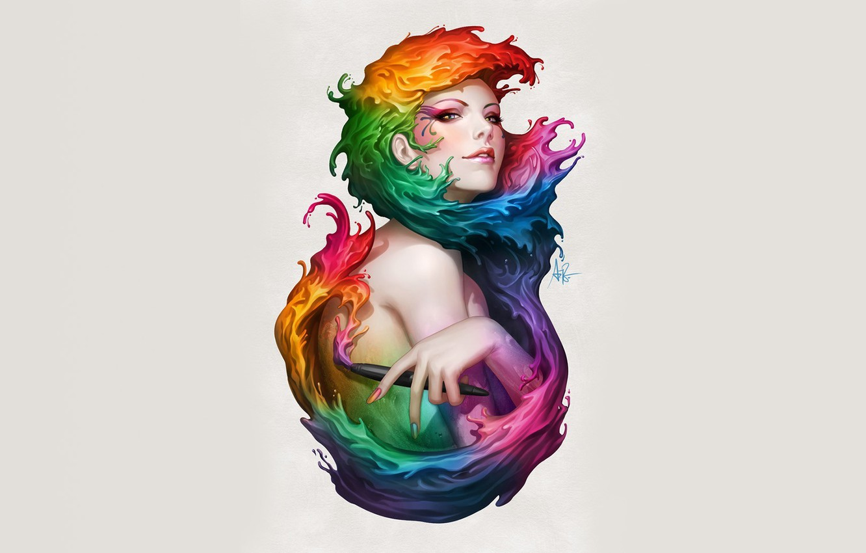 Photo wallpaper color, girl, paint, figure, art