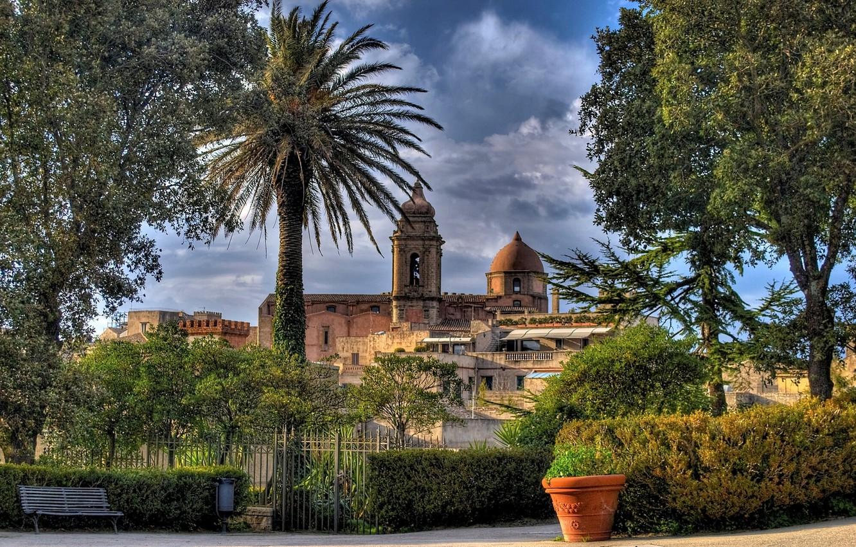 Photo wallpaper trees, bench, the fence, Italy, Church, Italy, pot, Sicily, Sicily, Erice, Church of San Giuliano, …