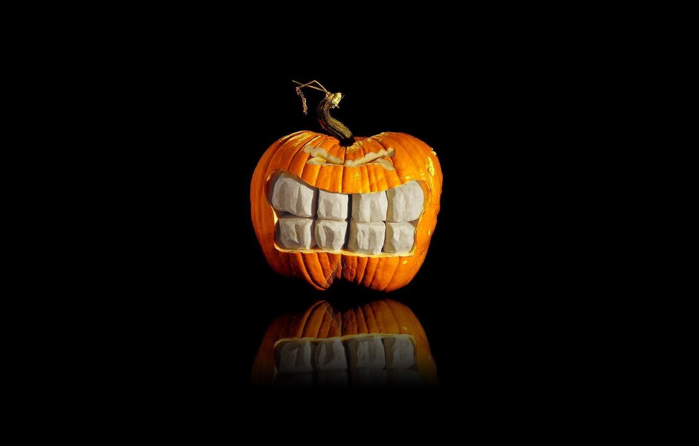 Photo wallpaper holiday, teeth, pumpkin, heluin