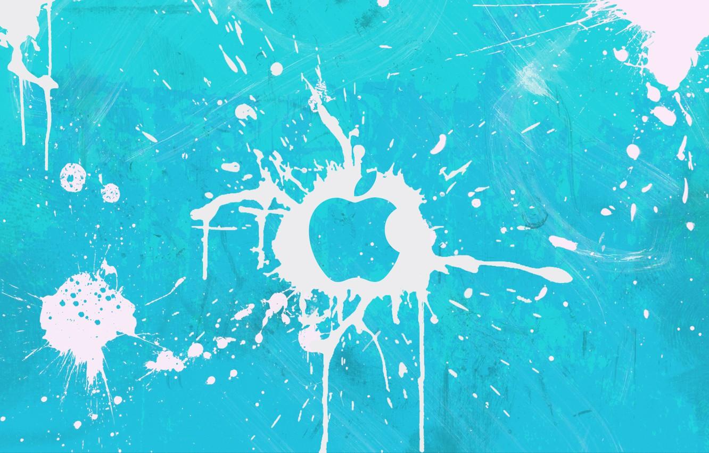 Photo wallpaper squirt, white, blue, blot, apple, Apple