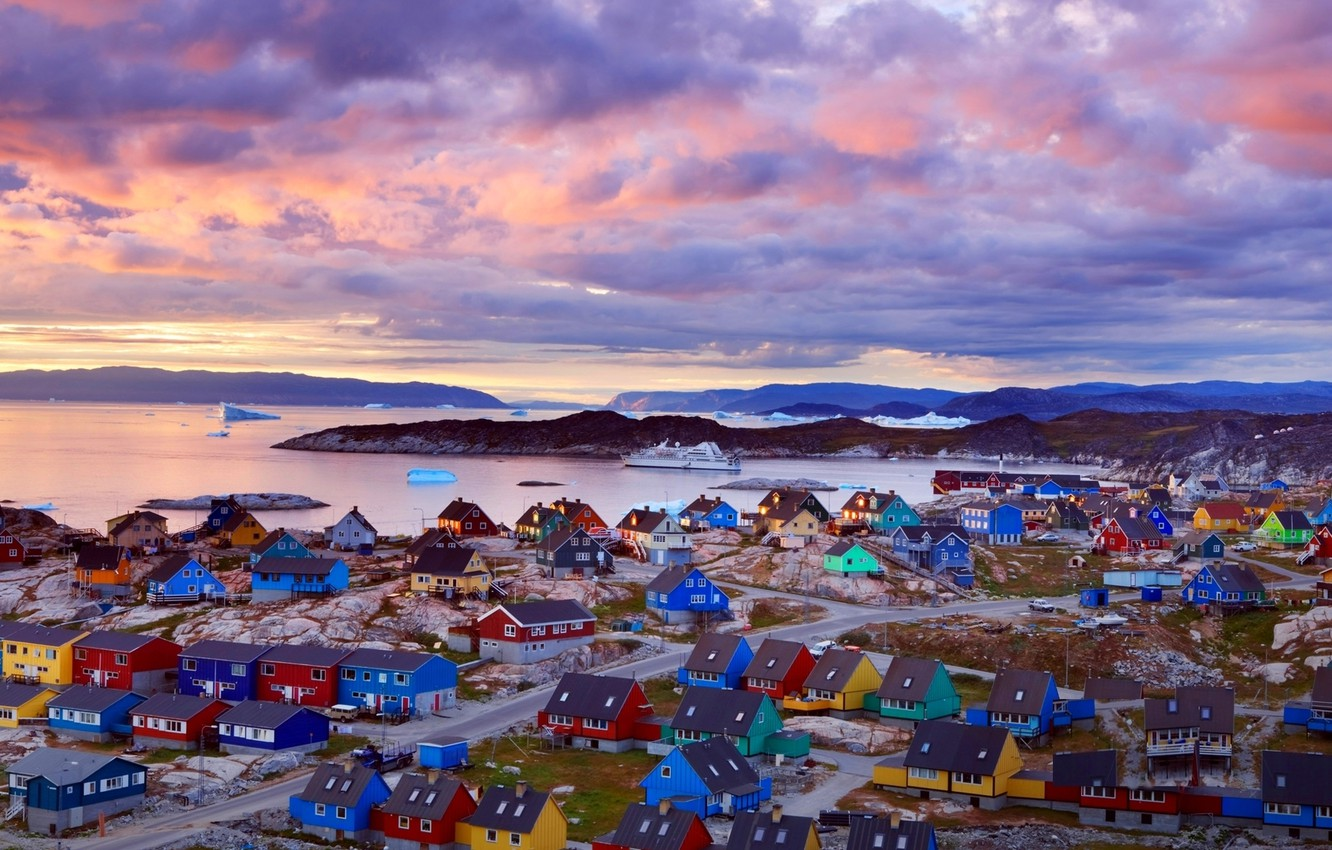 Photo wallpaper clouds, sunset, mountains, pink, shore, houses, ice, ferry, colorful, Greenland