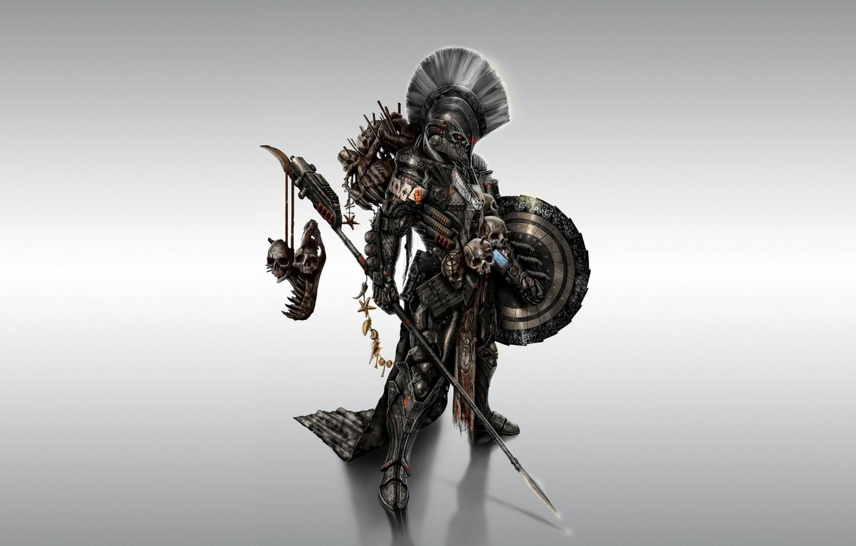 Photo wallpaper weapons, armor, warrior, spear, shield, Spartan, spartan