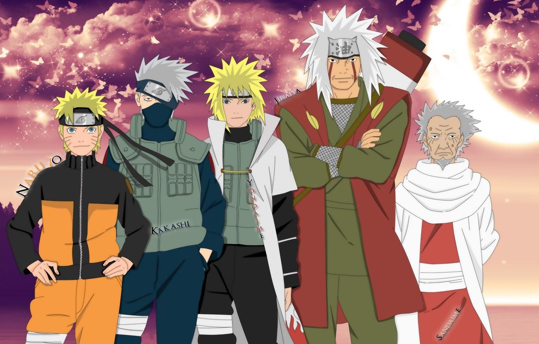 Photo wallpaper anime, naruto, naruto, the fourth Hokage, Minato, namikaze, kakashi, jiraiya, yondaime hokage, sandaime hokage