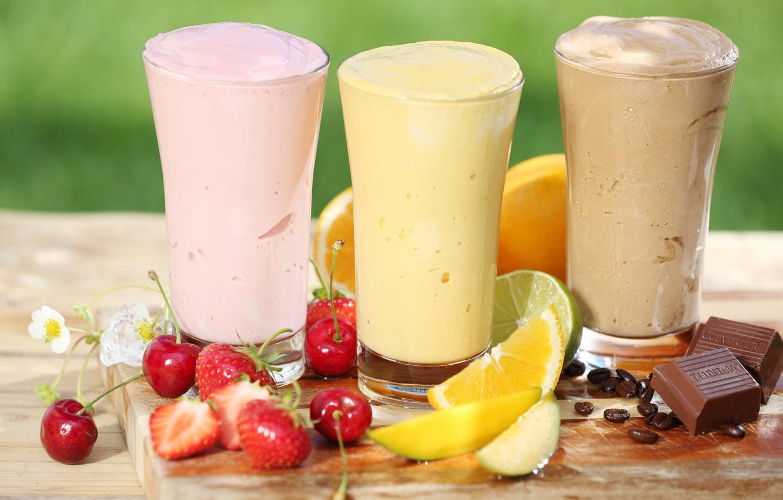 Photo wallpaper berries, chocolate, fruit, citrus, milkshake