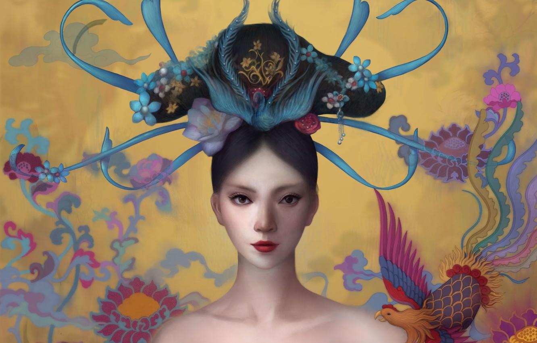 Photo wallpaper girl, bird, art, art
