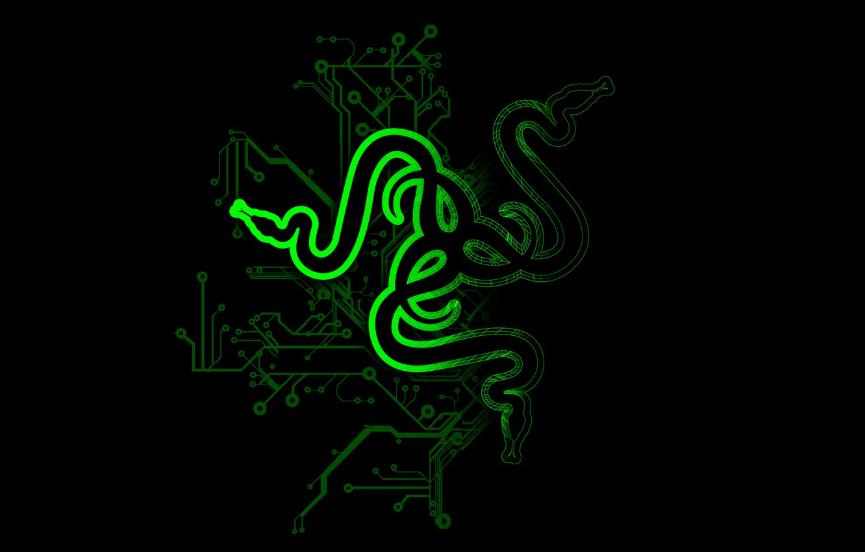 Photo wallpaper green, green, black, logo, black, razer
