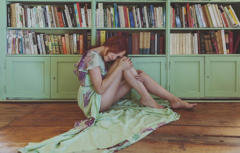 Photo wallpaper girl, face, room, books, dress, legs