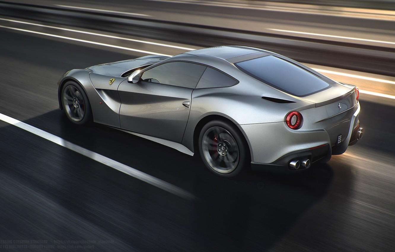 Photo wallpaper Ferrari, Speed, Road, Berlinetta, F12, Silver, Rear