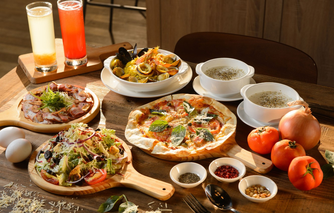 Photo wallpaper eggs, cheese, bow, juice, soup, pizza, tomatoes, cuts