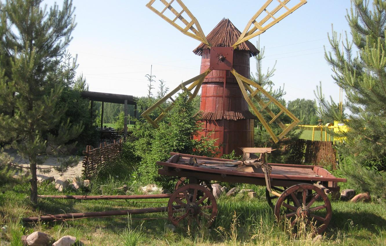 Photo wallpaper village, mill, Russia