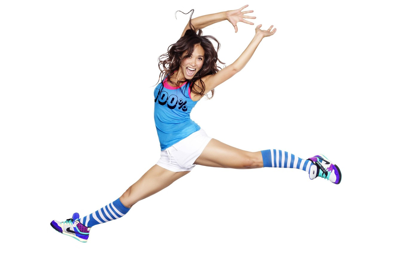 Photo wallpaper look, background, jump, body, Girl, legs, Myleene Klas