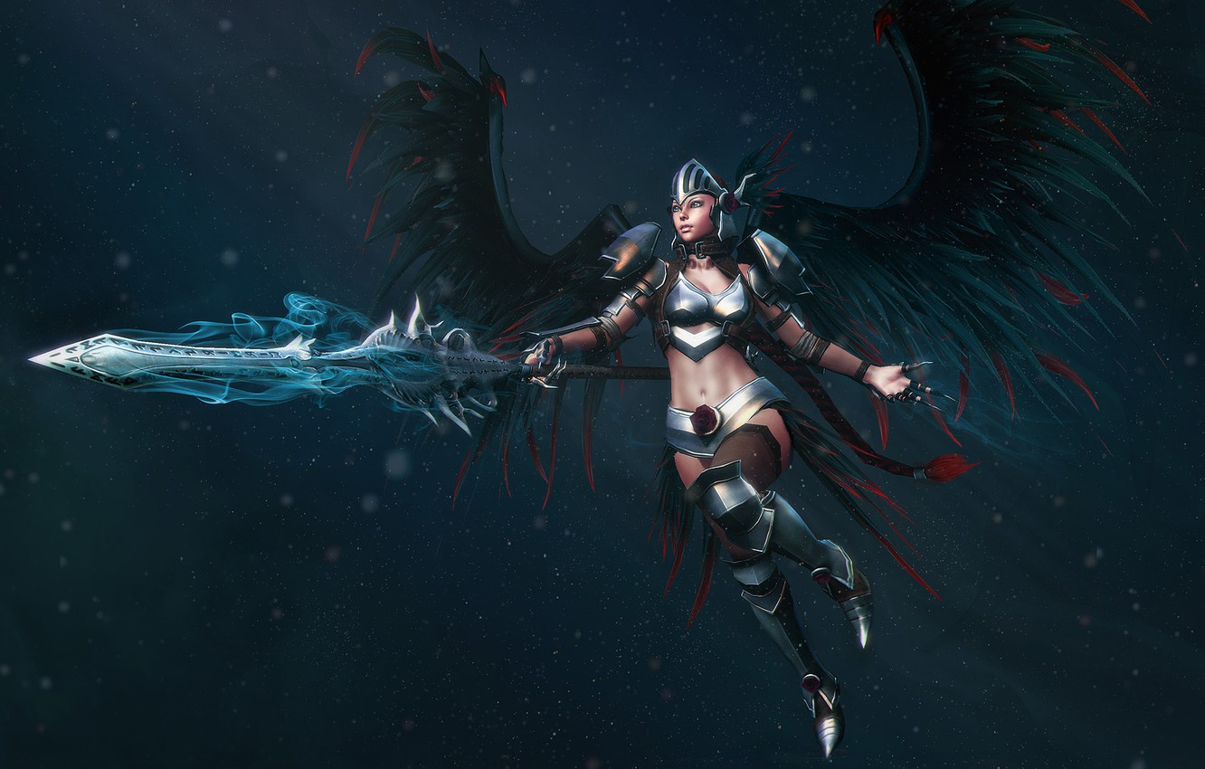 Photo wallpaper weapons, Girl, wings, armor, warrior