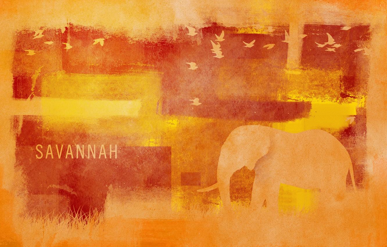 Photo wallpaper grass, birds, style, patterns, paint, elephant, colors, Savannah, grass, style, patterns, 1920x1200, birds, elephant, savannah