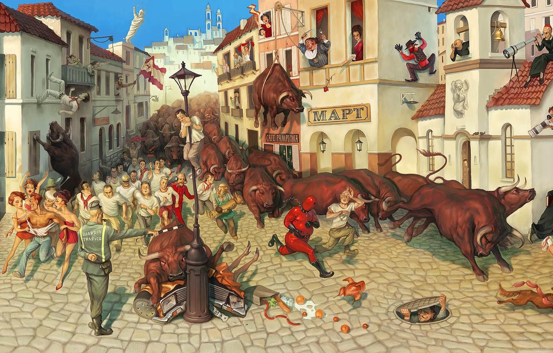 Photo wallpaper humor, area, Spain, Waldemar Kazak, Fiesta