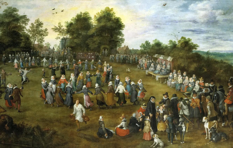 Photo wallpaper people, picture, genre, Jan Brueghel the elder, The village Dances in front of the Grand …