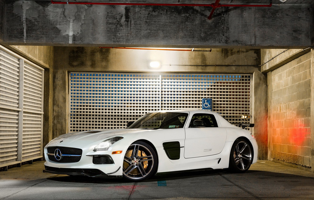 Photo wallpaper Mercedes, AMG, Black, SLS, White, Series