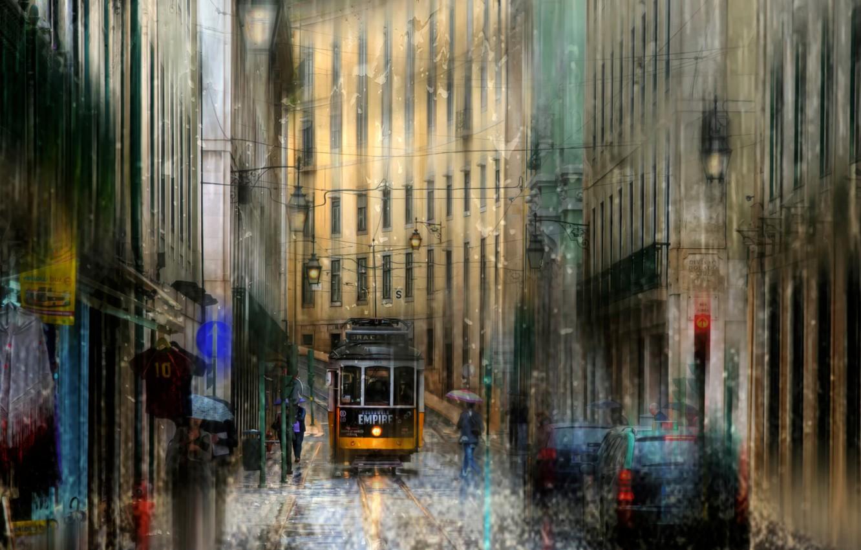 Photo wallpaper drops, rain, Portugal, Lisbon