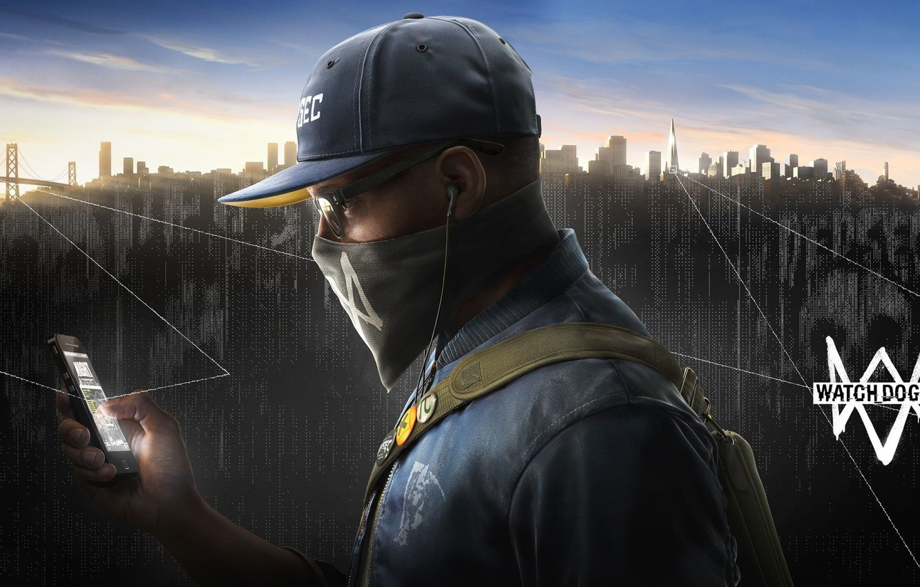 Photo wallpaper the city, glasses, cap, gun, cell phone, hack, Watch Dogs2