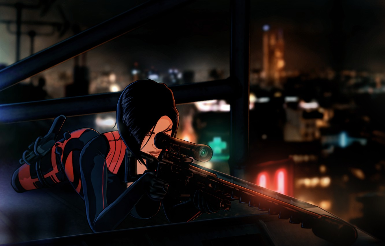 Photo wallpaper roof, night, weapons, woman, Paris, sniper, sniper rifle, Fear Effect, Hana Tsu-Vachel