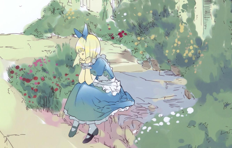 Photo wallpaper Alice, flowers, lawn, art, apron, alice in wonderland, blue dress, ueda ryou