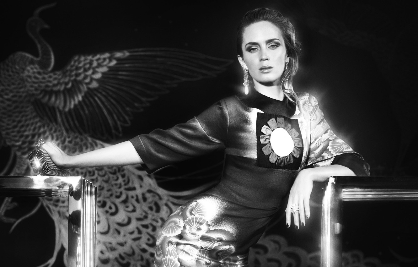 Photo wallpaper look, girl, face, black and white, dress, actress, hairstyle, peacock, Emily Blunt, Emily Blunt