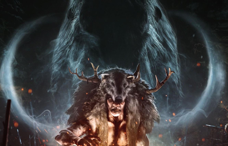 Photo wallpaper look, fire, smoke, spirit, ritual, skin, horns, mammoth, Ubisoft, Shaman, Far Cry Primal, plemya