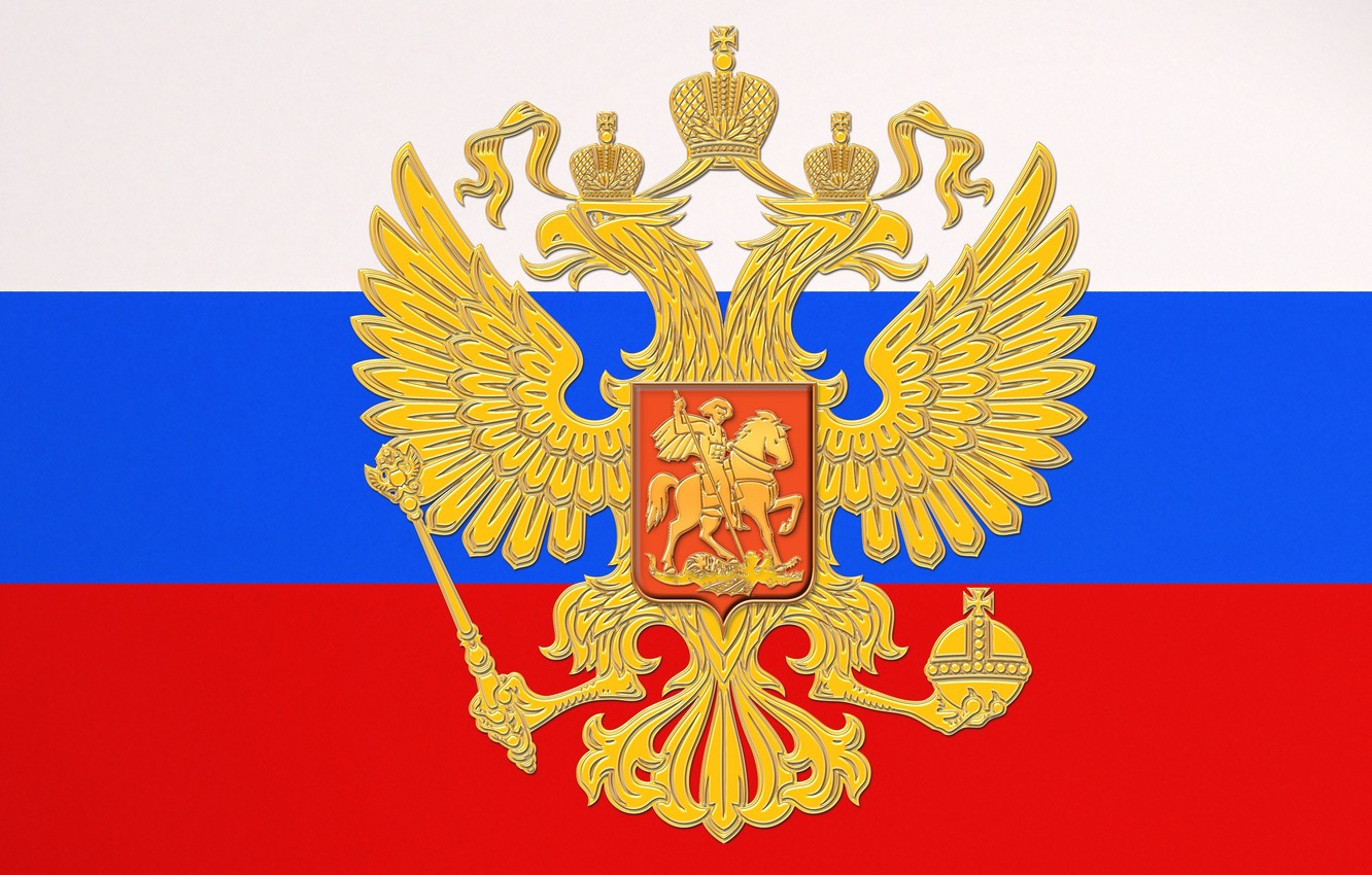 Photo wallpaper Flag, Tricolor, Coat of arms, Russia