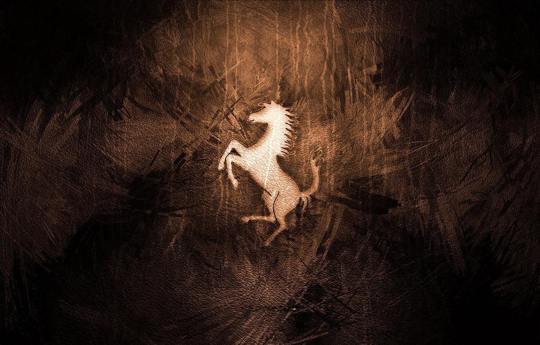 Photo wallpaper horse, leather, emblem, ferrari, 2014